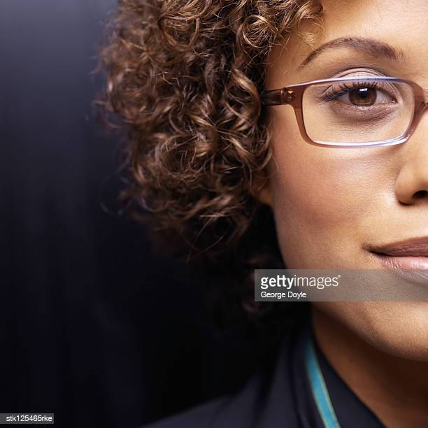 Close-up of a young businesswoman wearing glasses