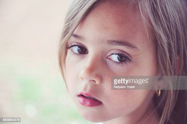 closeup of a young girl - big eyes stock photos and pictures