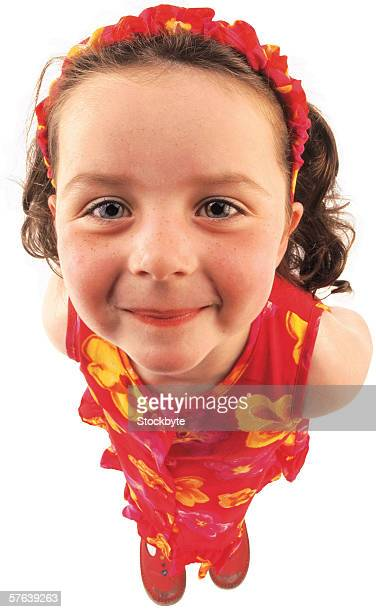 close-up of a young girl (6-8) wearing a hair band - girl band stock pictures, royalty-free photos & images