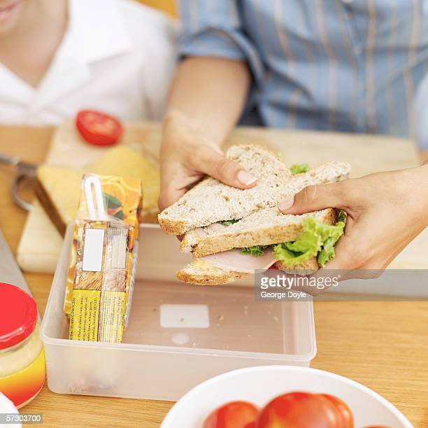 Close-up of a young mother placing a ham sandwich into a lunch box with a young girl (8-10) watching her