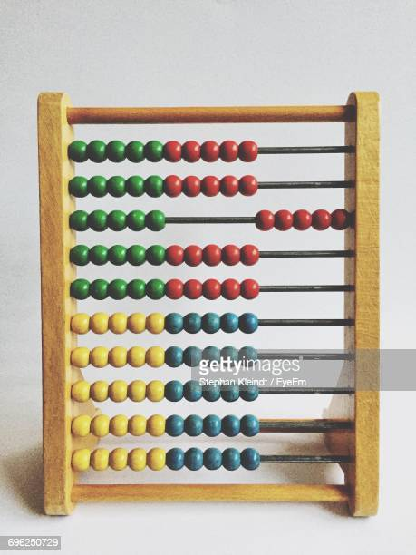 Close-Up Of Abacus Against White Background