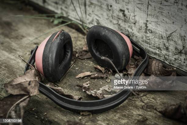 close-up of abandoned ear muffs - cambridge new zealand stock pictures, royalty-free photos & images