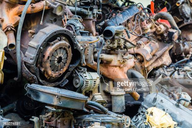 close-up of abandoned machinery - scrap metal stock photos and pictures