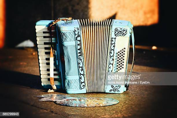 Close-Up Of Accordion On Table