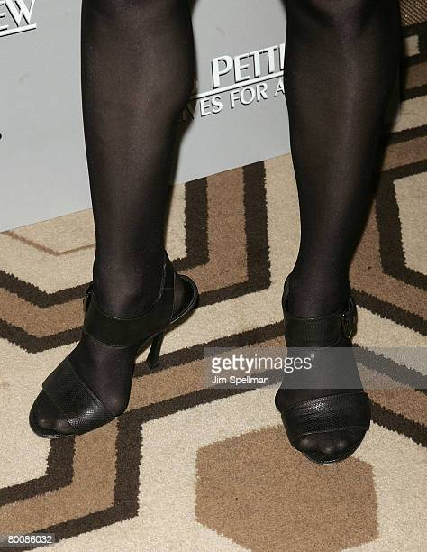 A closeup of Actress Amy Adams' shoes as she attends the 'Miss Pettigrew Lives for a Day' premiere at the Tribeca Grand Screening Room on March 2...