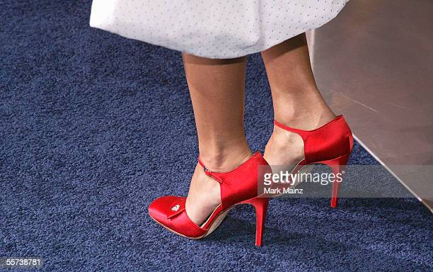 A closeup of actress Jessica Alba shoes as she attends the premiere of Sony Pictures Into the Blue at the Mann Village Theatre on September 21 2005...
