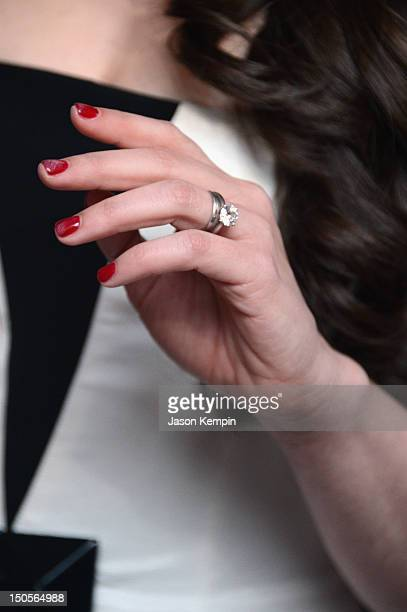 A closeup of actress Lauren Miller's ring at the 'For A Good Time Call' premiere at Regal Union Square on August 21 2012 in New York City