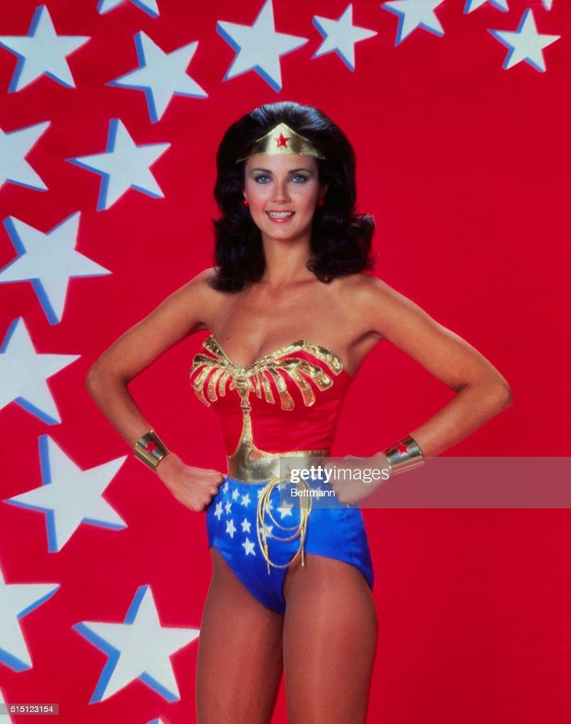 1977- Closeup of actress Lynda Carter in costume as 'Wonder Woman' from TV Series.