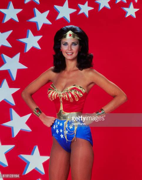 1977 Closeup of actress Lynda Carter in costume as 'Wonder Woman' from TV Series