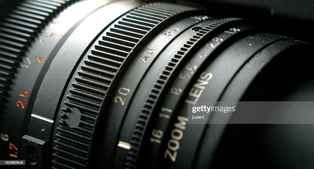 Close-up of adjustable camera lens : Stock Photo