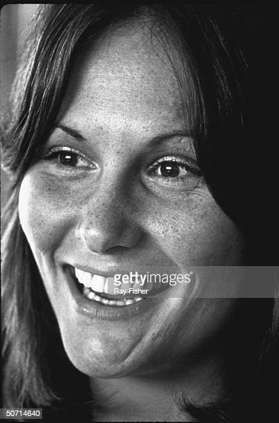Closeup of adult film actress Linda Lovelace during an interview