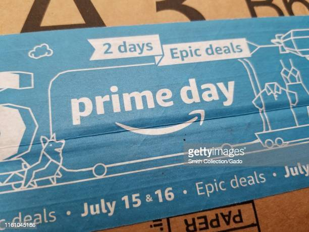 Close-up of advertisement for Amazon Prime Day, printed on an Amazon delivery package, San Ramon, California, July 8, 2019.