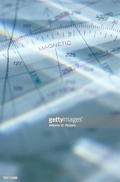 close-up of aeronautical map - längengrad stock-fotos und bilder