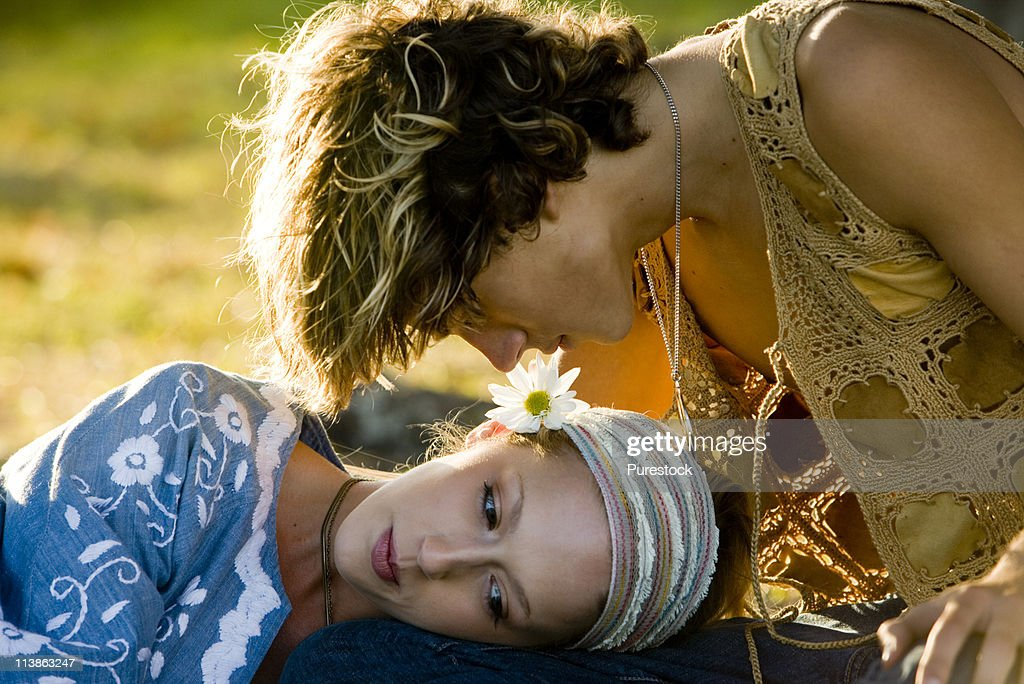 Close-up of affectionate young hippie couple : Stock Photo