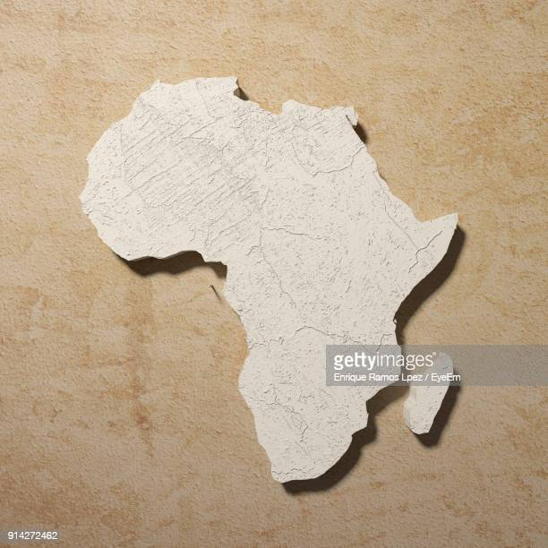 Close-Up Of African Continent Paint On Wall