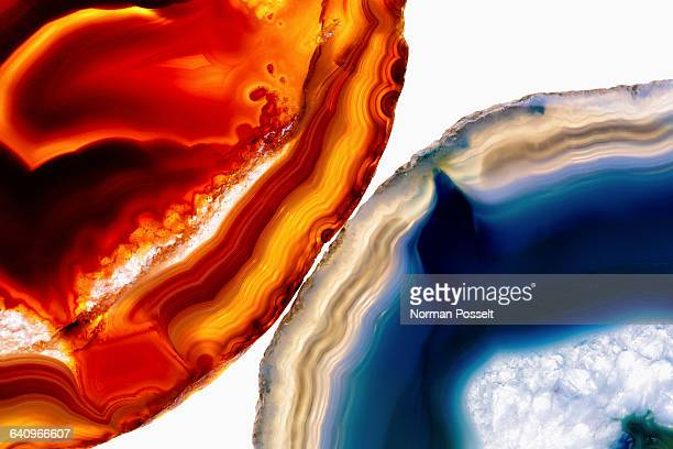 Close-up of agate stones on white background