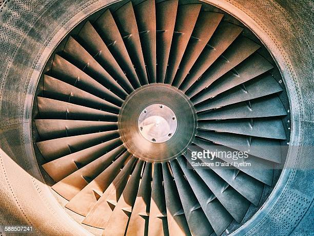 close-up of airplane jet engine - engine stock photos and pictures