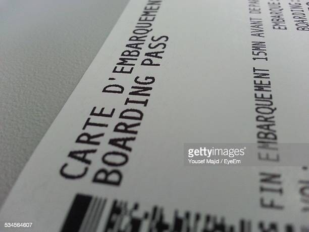 Close-Up Of Airplane Ticket