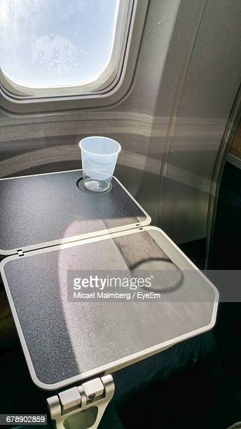 Close-up Of Airplane Tray Table By Window