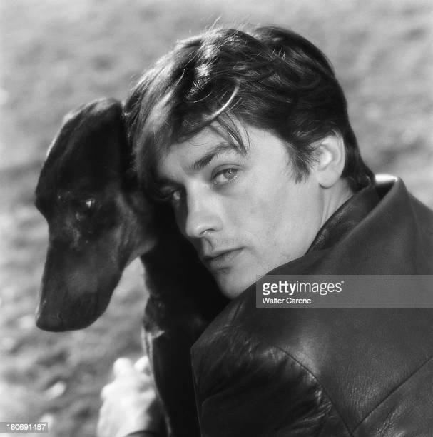 Closeup Of Alain Delon A Sunday In The Country Un dimanche avec Alain DELON dans sa maison de campagne plan de troisquarts souriant de l'acteur en...