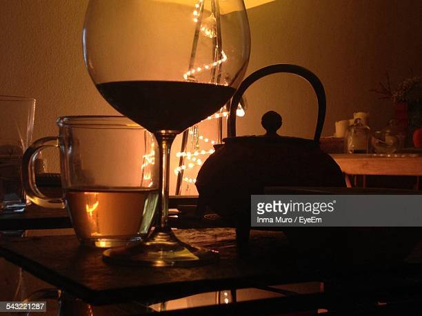 close-up of alcohol in glasses on table - muro stock photos and pictures