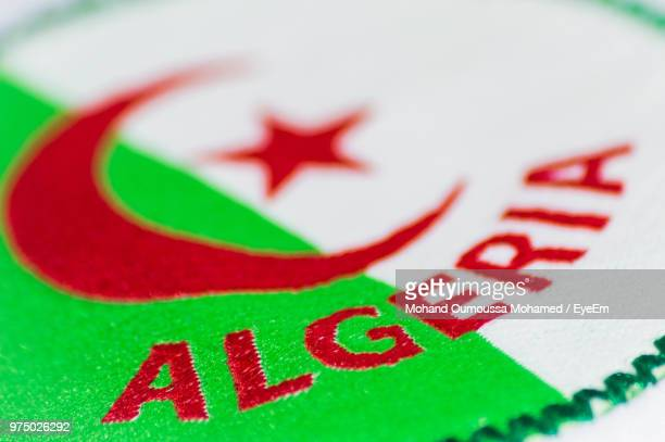 Close-Up Of Algerian Flag With Text