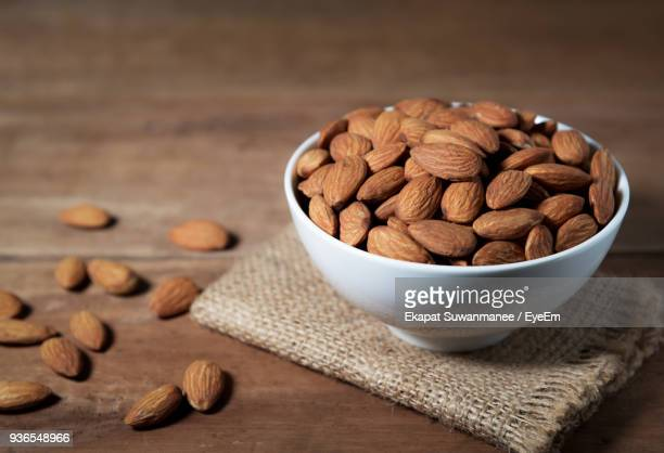 Close-Up Of Almonds In Bowl On Table