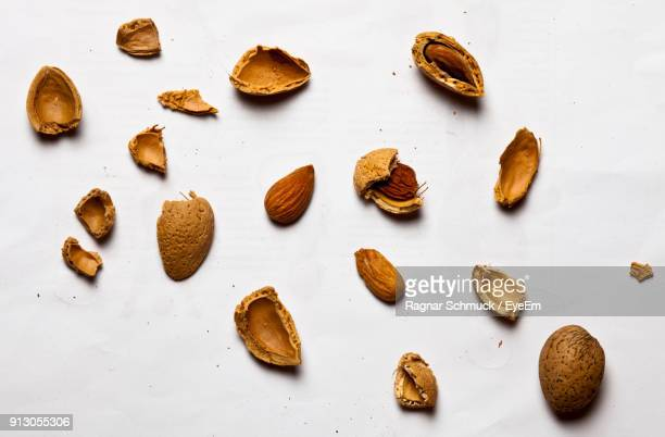 Close-Up Of Almonds On White Background