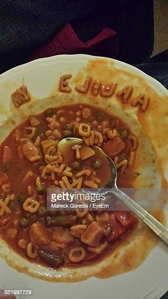 Close-Up Of Alphabet Spaghetti Soup