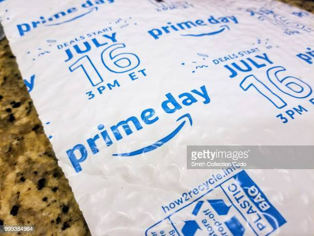 Closeup of Amazon Prime package advertising the Prime Day 2018 promotion on a granite surface San Ramon California July 13 2018