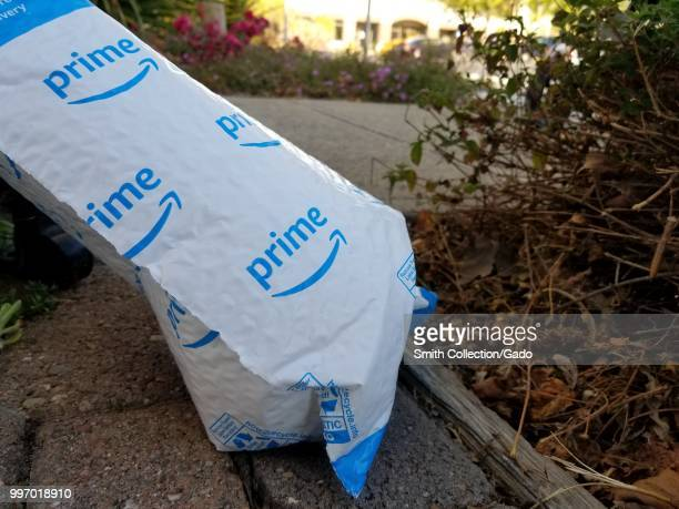 Closeup of Amazon Prime package outdoors in an office park on Alameda Island Alameda California July 9 2018