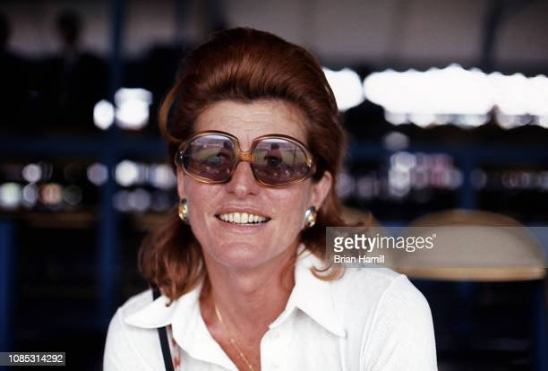 Closeup of America socialite and philanthropist Patricia Kennedy Lawford as she attends the first Robert F Kennedy ProCelebrity Tennis Tournament at...