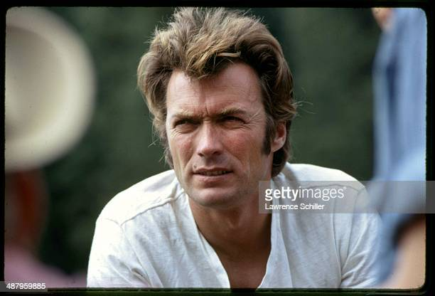 Closeup of American actor Clint Eastwood during a break in the film 'Paint Your Wagon' Baker City Oregon 1968