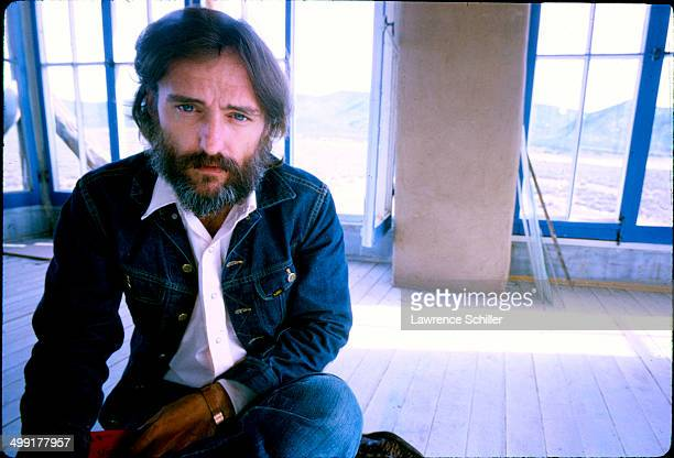 Closeup of American actor Dennis Hopper during the filming of the documentary about him entitled 'The American Dreamer' Taos New Mexico August 1970
