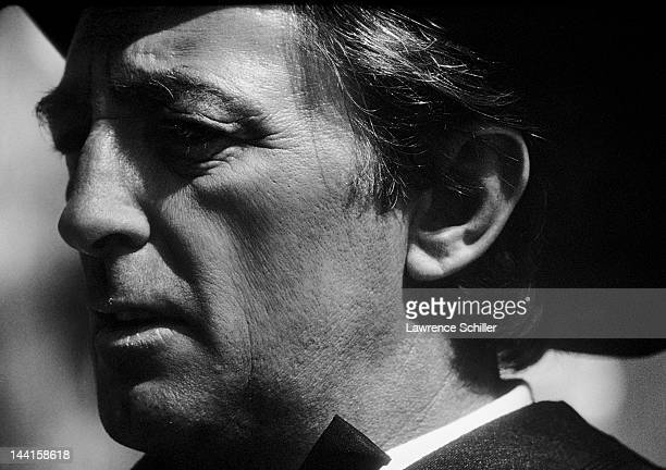 Closeup of American actor Robert Mitchum in costume on the set of his movie '5 Card Stud' 1968