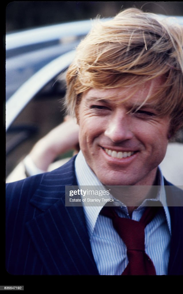 Close-up of American actor Robert Redford in costume (as 'Bill McKay') on the set of the film 'The Candidate' (directed by Michael Ritchie), California, 1972.