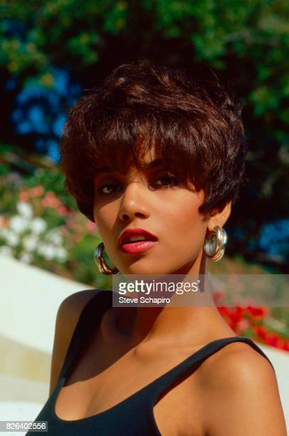 Closeup of American actress Halle Berry Los Angeles California 1986