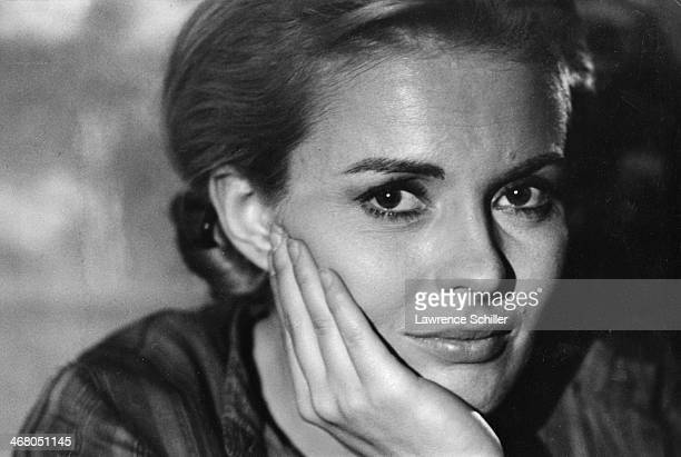 Closeup of American actress Jean Seberg during the production of the film 'Paint Your Wagon' Baker Oregon 1969