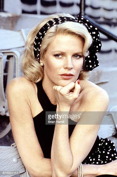 Closeup of American actress Kim Basinger on the set of the film 'The Natural' 1984