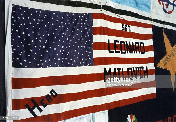 Closeup of American Air Force Technical Sergeant and gay rights activist Leonard Matlovich's panel on the NAMES Project AIDS Memorial Quilt October...