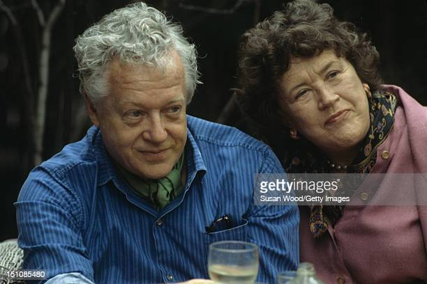 Closeup of American architect Benjamin C Thompson and chef author and television personality Julia Child at an unspecified event May 1978