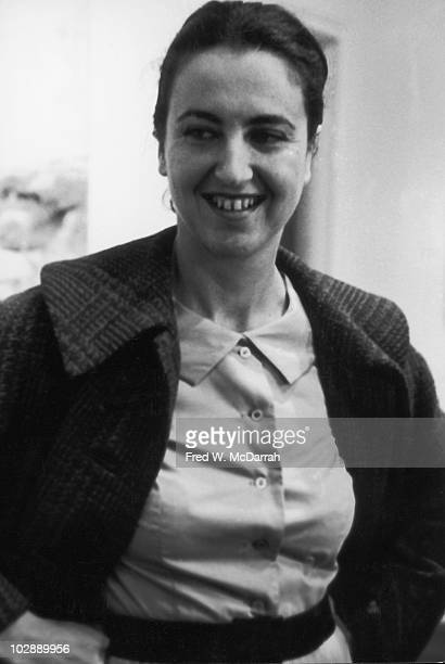 Closeup of American artist Jane Freilicher as she smiles at the Tibor de Nagy Gallery New York New York May 3 1960