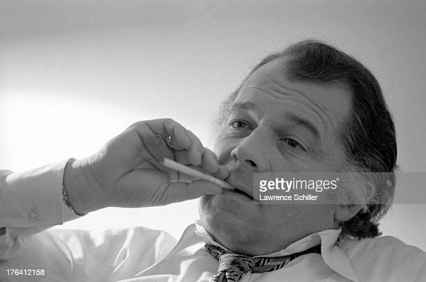Closeup of American attorney F Lee Bailey in his room at the Stanford Court hotel San Francisco California 1976 At the time Bailey was serving as the...