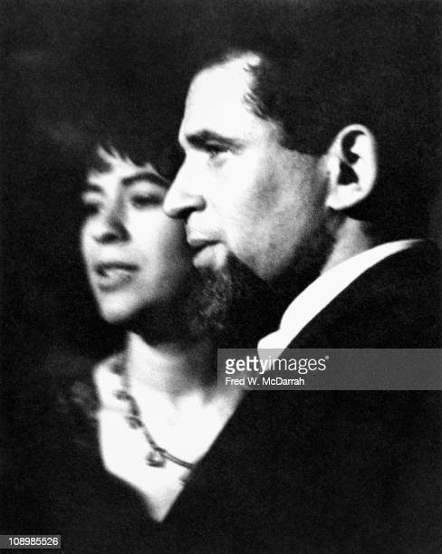 Closeup of American author Norman Mailer and his wife Adele Morales as they attend a party in Greenwich village New York New York April 1959