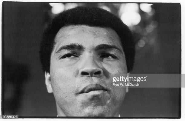 Closeup of American boxer Muhammad Ali as he makes a face during a press conference February 20 1976