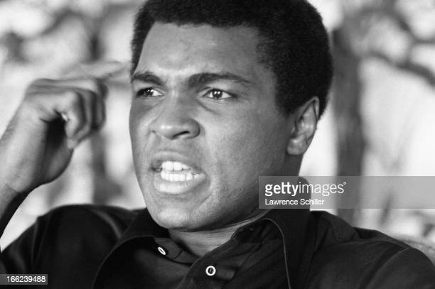 Closeup of American boxer Muhammad Ali in his room at the Hilton Hotel Manila Philippines mid to late September 1975 Ali was in the Philippines for a...