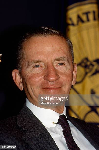 Closeup of American businessman and US Presidential candidate Ross Perot as he addresses a National Press Club luncheon Washington DC November 17 1988
