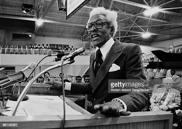 Closeup of American Civil Rights leader Bayard Rustin as he speaks at Mason Temple Church of God 9 years after Dr King's murder Memphis TN 1977...