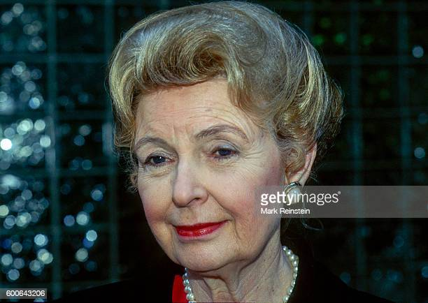 Closeup of American conservative activist Phyllis Schlafly outside the ABC TV Studios Washington DC 1990s She was at a press conference following her...
