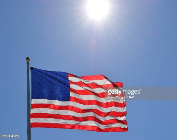 close-up of american flag - flagpole sitting stock photos and pictures